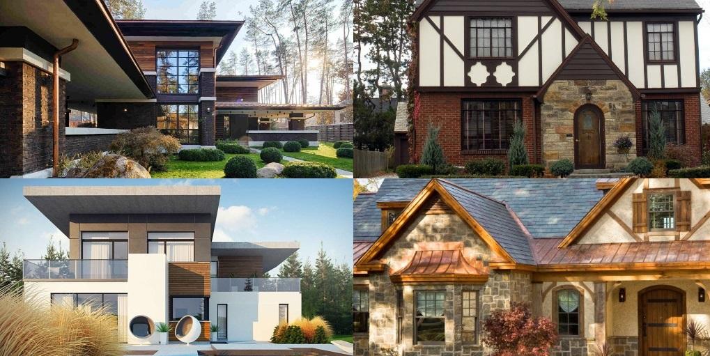 Отделка фасада в различных стилях